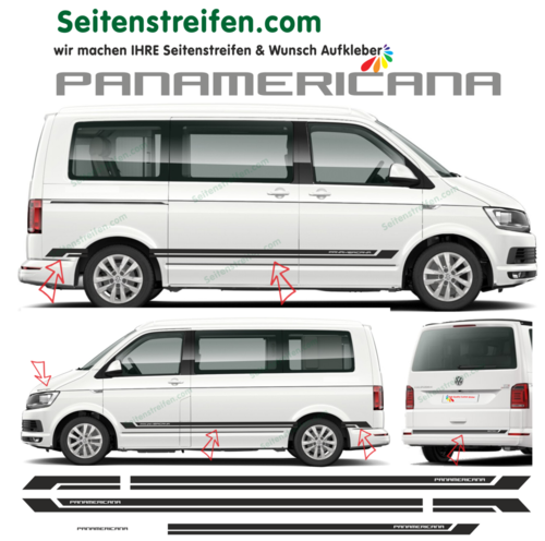 VW BUS T4 T5 T6 PANAMERICANA Edition 2018 - set completo de pegatinas laterales-N°:9072