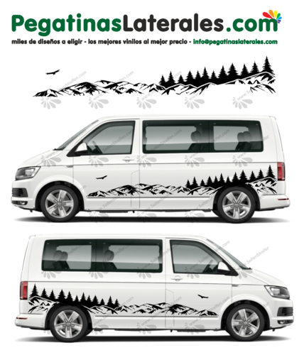 VW T4 T5 T6 Montañas Mountain Forest Outdoor Panorama - pegatinas laterales Decal Set - U2001