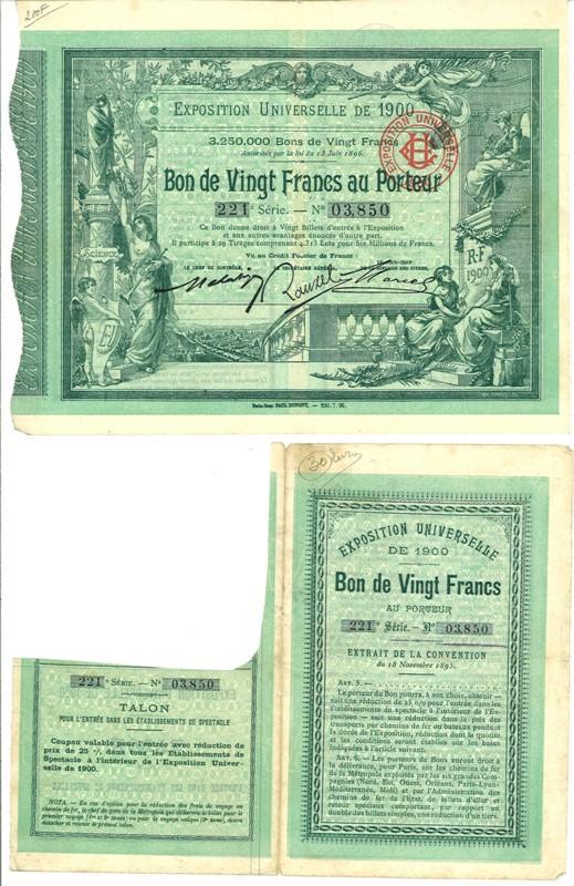 1900 exposition universelle de 1900 bon de 20 francs au porteur. Black Bedroom Furniture Sets. Home Design Ideas