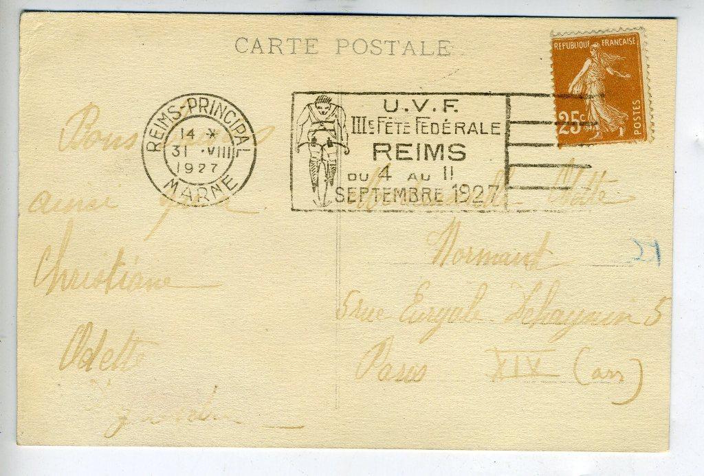 REIMS (51) - SPORT - Carte postale, affranchissement 25c semeuse bistre,  oblitération RARE flamme Fl