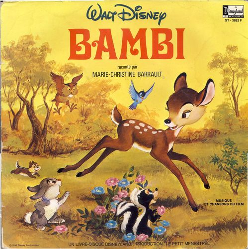 VINYL 33T bambi marie christine barrault dysney records 1978