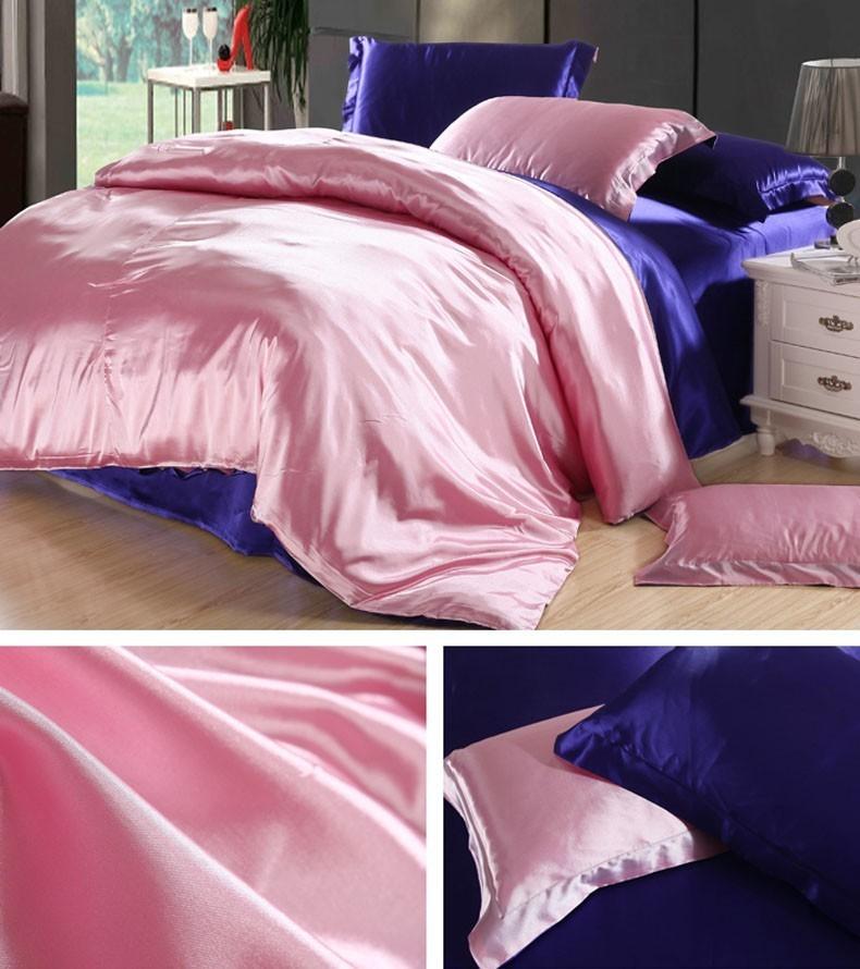 Juego de cama de seda rosa y azul