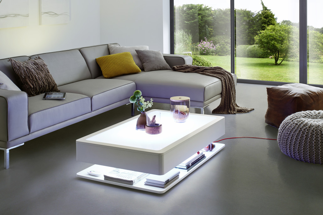 Coffee Table With Led Light And Magazine