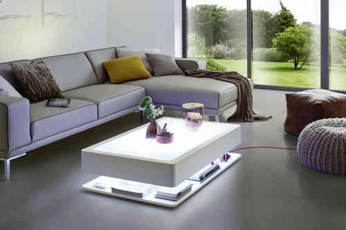 Mesa de salón con luz LED y revistero