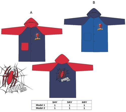 impermeable spiderman 3/4-5/6-6/8