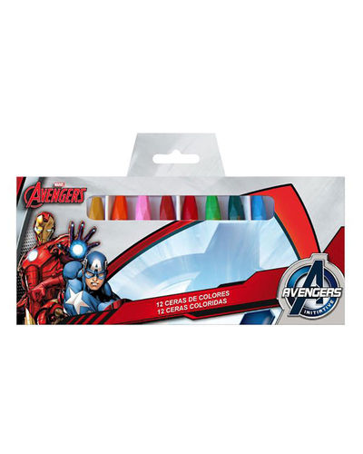 12 colored crayons Avengers