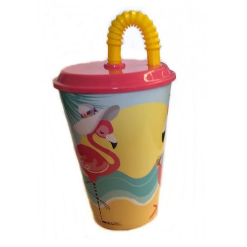 cup with straw Flamingo