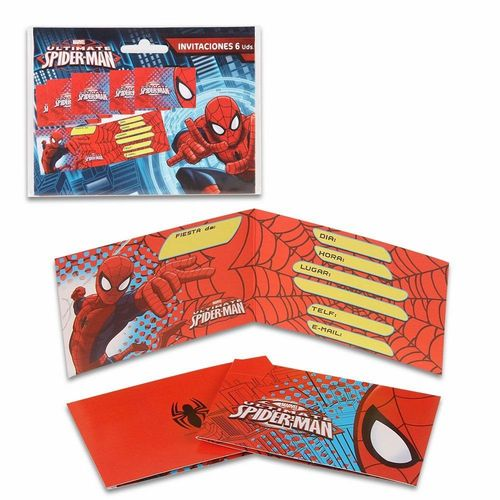 6 cartes d'invitation Spiderman