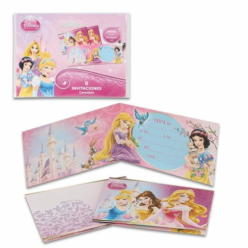 6 cartes d'invitation Princess