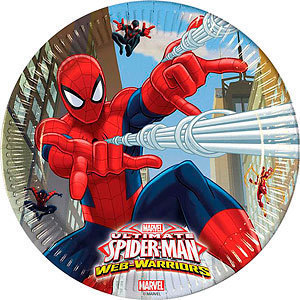 8 platos papel Spiderman 23cm