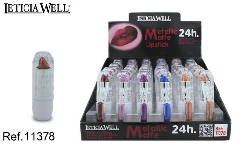 ROUGE À LEVRES METALLIC MATTE 24H. 6 COULEURS (0.70€ UNITE) PACK 36 LETICIA WELL