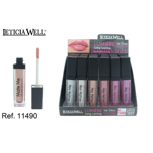 LIPGLOSS GLITTER LUMIERE 6 COULEURS (0,60 € UNITÉ) PACK 24 LETICIA WELL