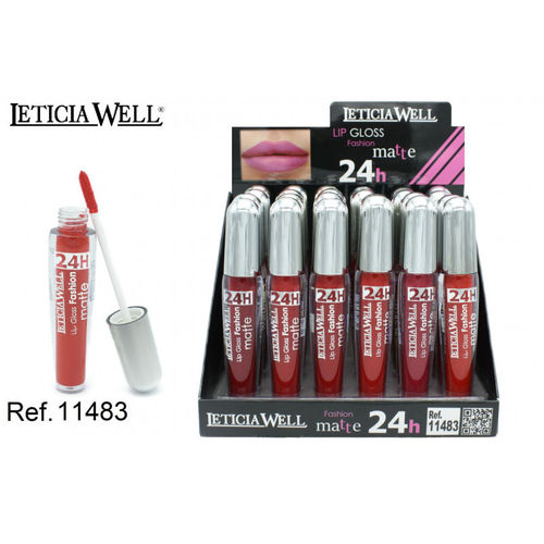 LIPGLOSS FASHION MATTE 24H. 6 COULEURS (0.65 € UNITÉ) PACK 24 LETICIA WELL