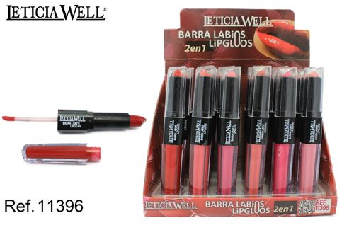 ROUGE À LÈVRES+LIP GLOSS 2 EN 1 6 COULEURS (0.82€'UNITE) PACK 24 LETICIA WELL