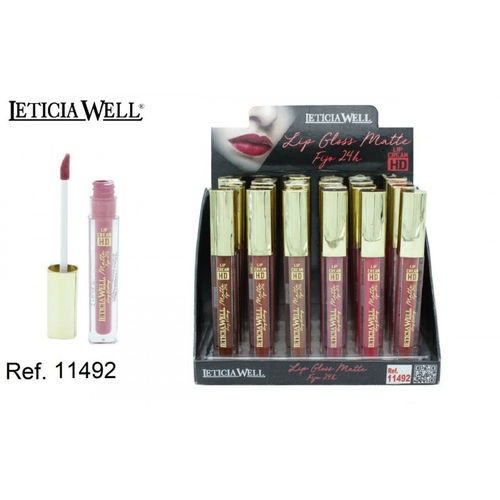LIPGLOSS MATTE FIJO 24H. 6 COULEURS HD (0.59€' UNITE) PACK 24 LETICIA WELL