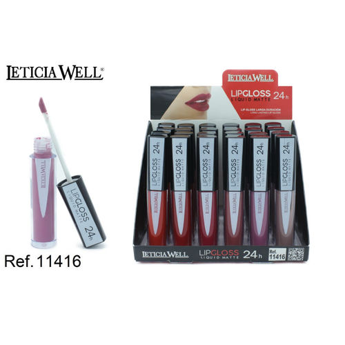 LIPGLOSS MATTE 24H. 6 COULEURS (0.69€ UNITE) PACK 24 LETICIA WELL