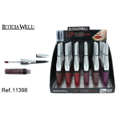 LIPGLOSS + LINER 6 COULEURS (0.65€' UNITE) PACK 24 LETICIA WELL