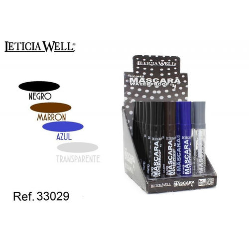 MASCARA 4 COLOURS WATERPROOF LETICIA WELL(0.55€ UNITE)PACK 24 12.5CM.