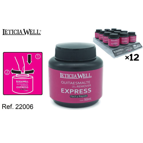 DISSOLVANT POUR ONGLES EXPRESS 50ML. (0.65€ UNITE) PACK 12 LETICIA WELL