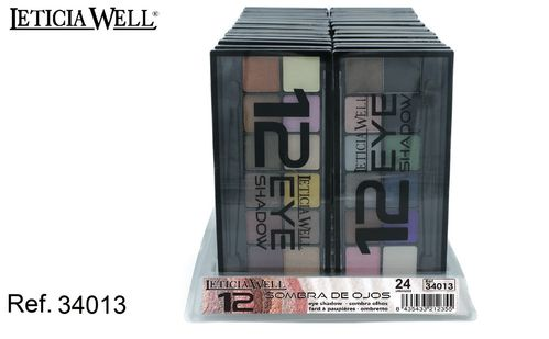 OMBRE À PAUPIERES 12 COULEURS (0.69€ UNITE) PACK 24 LETICIA WELL