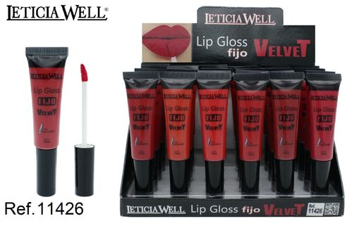 LIPGLOSS PERMANENT VELVET 6 COULEURS (0.65 € UNITÉ) PACK 24 LETICIA WELL