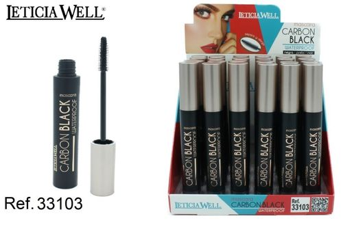 MASCARA CARBON BLACK WATERPROOF(0.65€ UNITE) PACK 24 LETICIA WELL