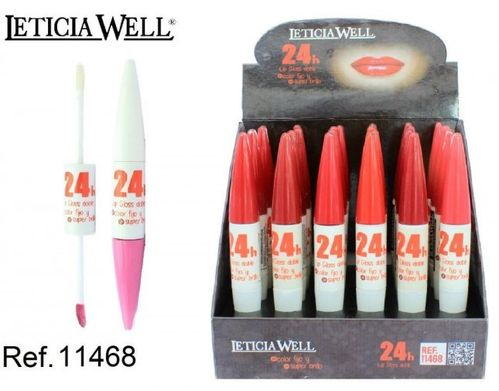 LIPGLOSS DOBLE COLOR FIJO + SUPER BRILLO 24H (0.75€ NITE) PACK 24 LETICIA WELL