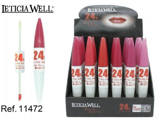 LIPGLOSS DOBLE COLOR FIJO + SUPER BRILLO 24H (0.75€' UNITE) PACK 24 LETICIA WELL