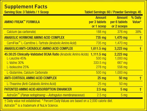 Amino Freak - Informations Nutritionnelles