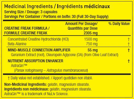 Informations nutritionnelles :CREATINE FREAK - PharmaFreak