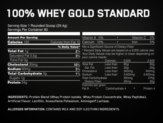 ON WHEY GOLD - Informations Nutritionelles