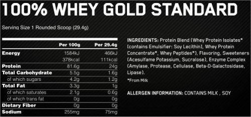Whey Gold Optimum Nutrition - Informations Nutritionnelles