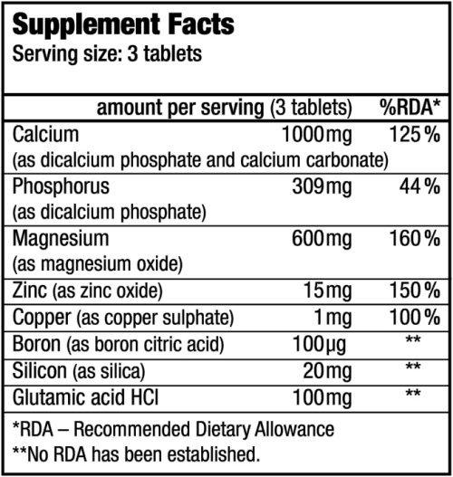 Calcium Zinc Magnesium Biotech USA - Valeurs Nutritionelles