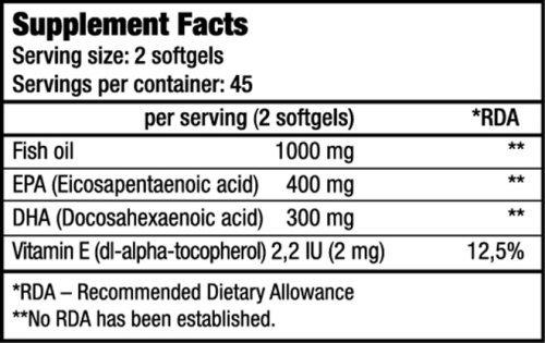 Omega 3  Biotech USA - Valeurs Nutritionelles