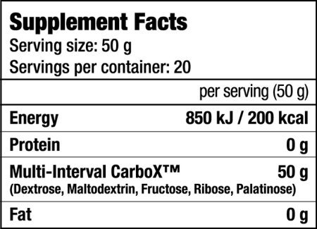 Biotech USA - CARBOX - Informations Nutritionnelles