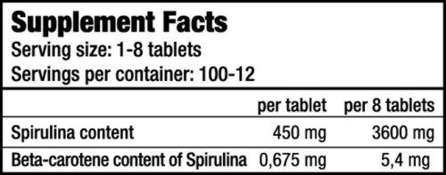 Spirulina  Biotech USA - Valeurs Nutritionelles