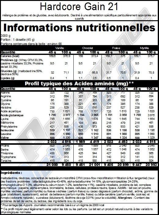 Extrifit Hardcore Gain 21 - Infomations Nutritionnelles