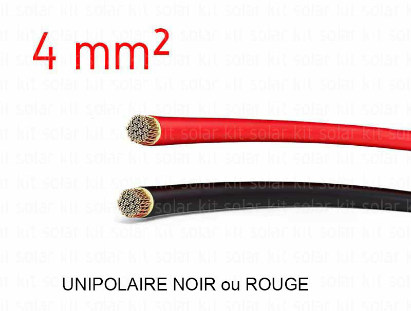Câble Solaire Noir 4 mmâ² au mètre pour PV photovoltaïque montage