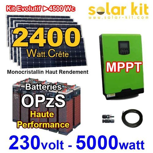Solar kit 230V 5000W - 2400Wp MPPT - OPzS batteries