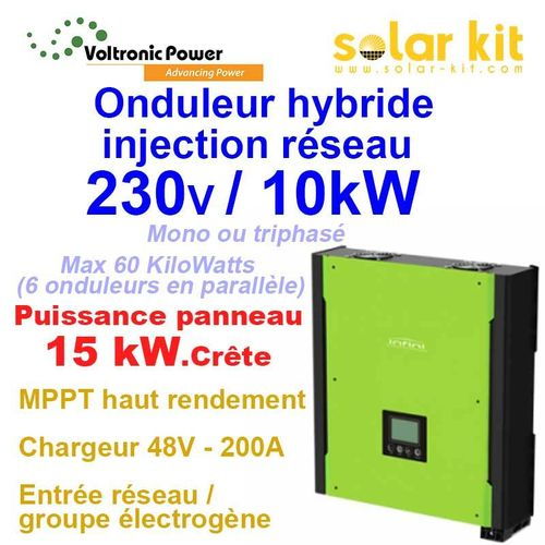 Inverter on-grid 1 or 3 phase 10kW 48V MPPT 15kWp