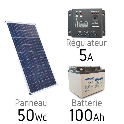 Solar kit 12v 50Wc + battery 100Ah