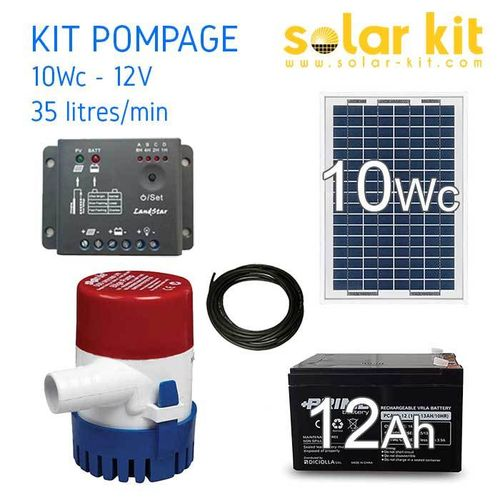 Solar kit 12v 10Wc + water pump 35 L-m