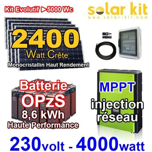 Solar kit on grid 230V 4000W - 2400Wp MPPT - OPzS batteries