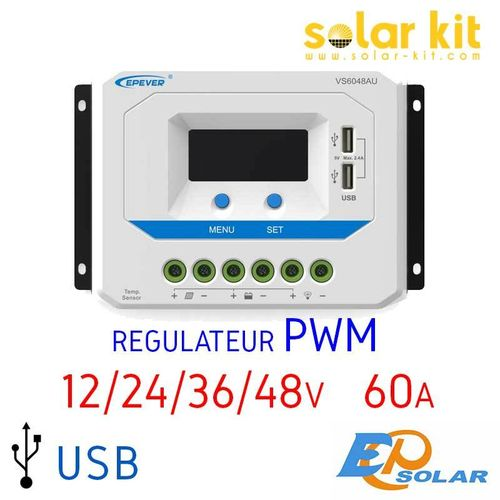 Régulateur de charge 60A 12-24-36-48V USB EPSOLAR