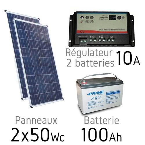 Kit solaire 12v 2x50Wc + batterie 100Ah - regulateur duo