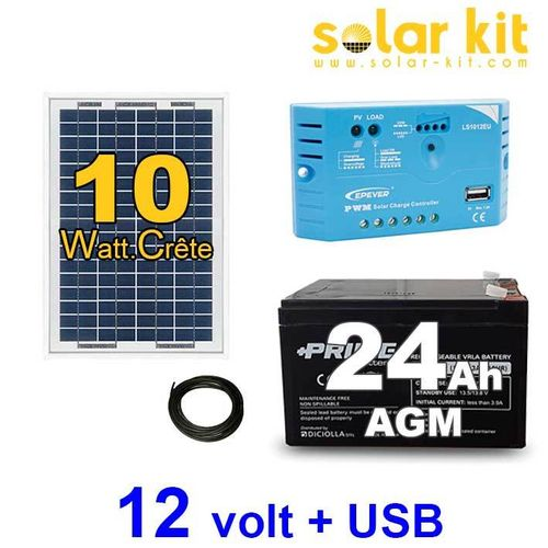 Solar kit 12v 10Wc battery 24Ah USB