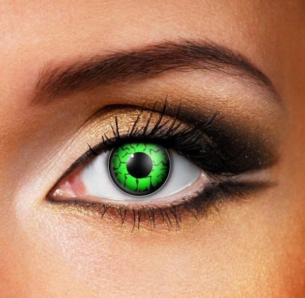 Green contact lenses - Pair of lenses for Freddy or Alien