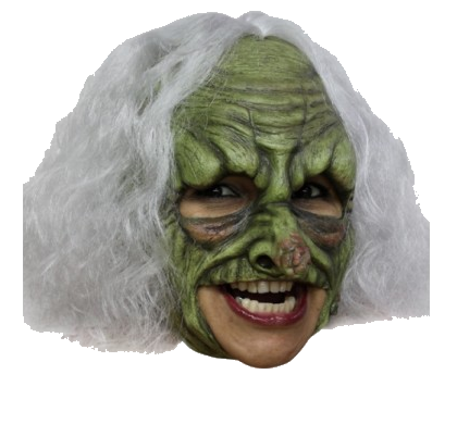 Witch rubber chin strap monster horror mask - halloween