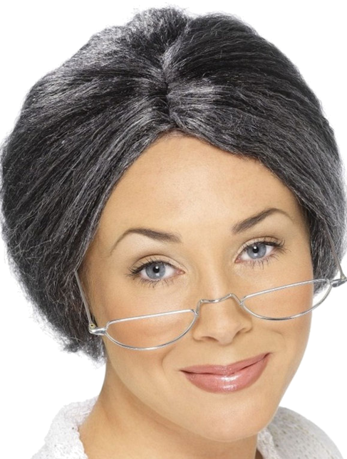 A ladies realistic wig grey