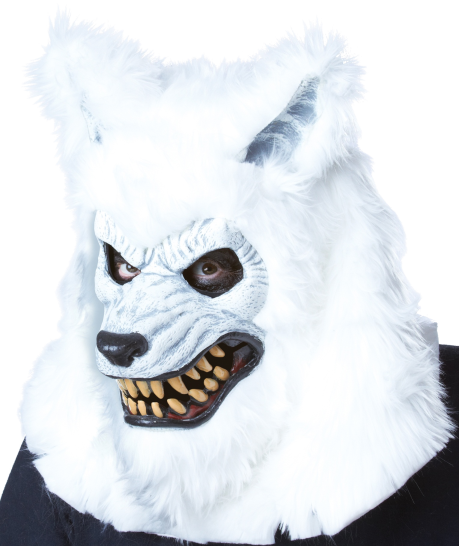White lycan werewolf mask Moving mouth